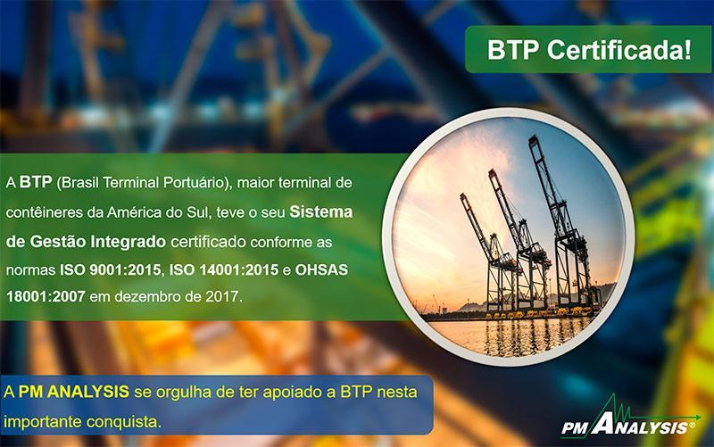Brasil Terminal Portuário (BTP) tem o SGI Certificado